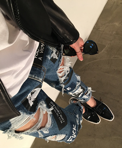 [CB0308] PATCH BAGGY DENIM <br> Denim